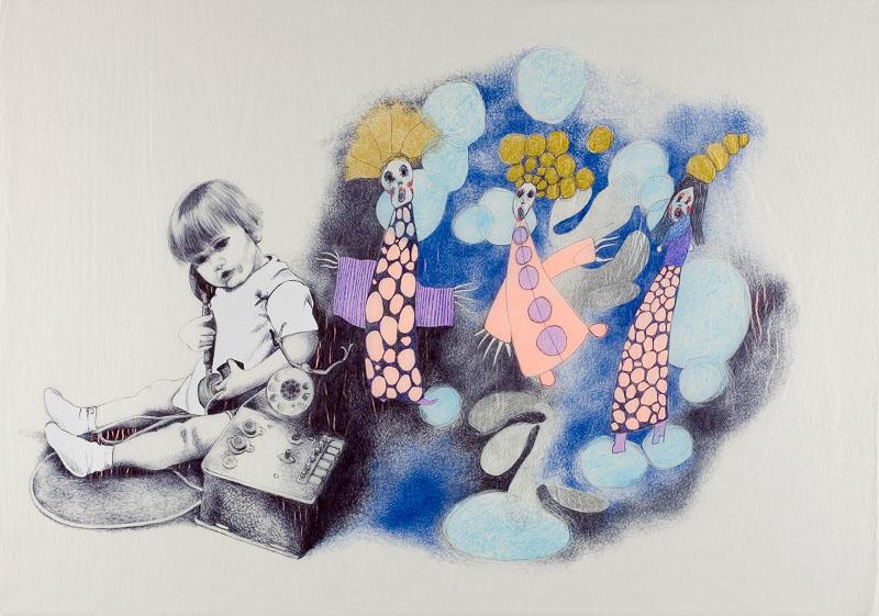 telefoneren, 2006, 75x100 cm., ballpoint drawing on kite paper