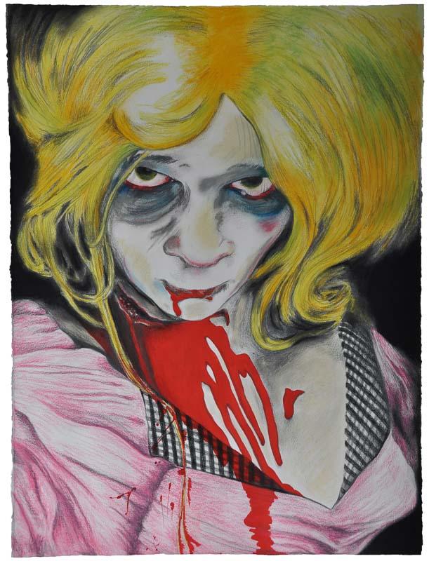 the eternal bridesmaid, Halloween, 2009, 56x78 cm., pencil + soft pastel drawing