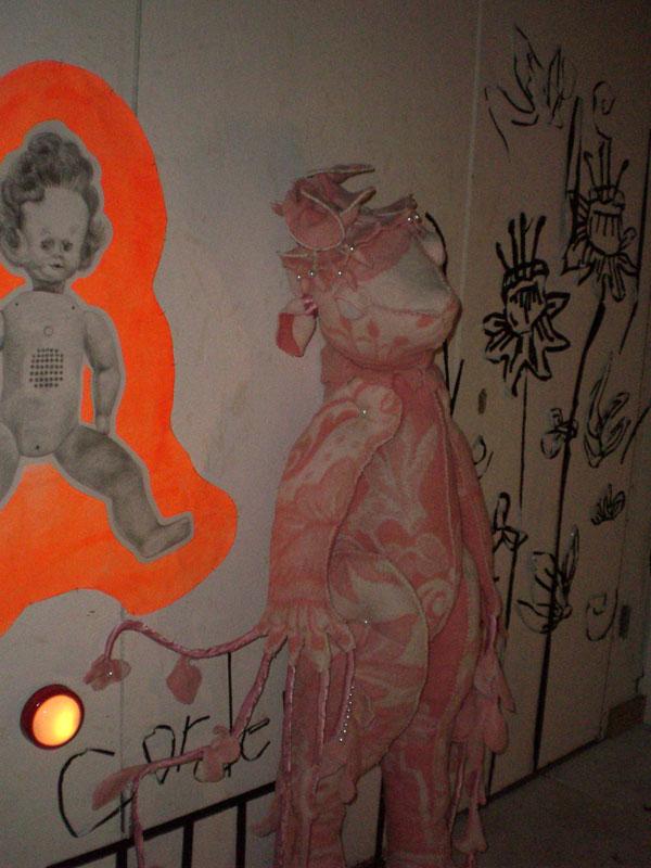 Cordelia (pink), the Nursery, 2008, blanket statue, 140x40x40 cm.