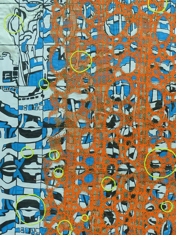 Cityscape tapestrie 2, detail, 2017, 94 x 140 cm., silkscreen print with embroidery on a moving blanket