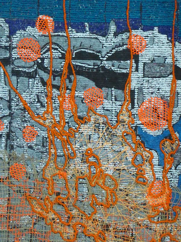 Cityscape tapestrie 3, detail, 2017, 94 x 140 cm., silkscreen print with embroidery on a moving blanket