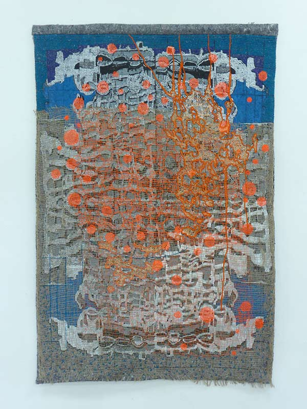 Cityscape tapestrie 3, 2017, 94 x 140 cm., silkscreen print with embroidery on a moving blanket